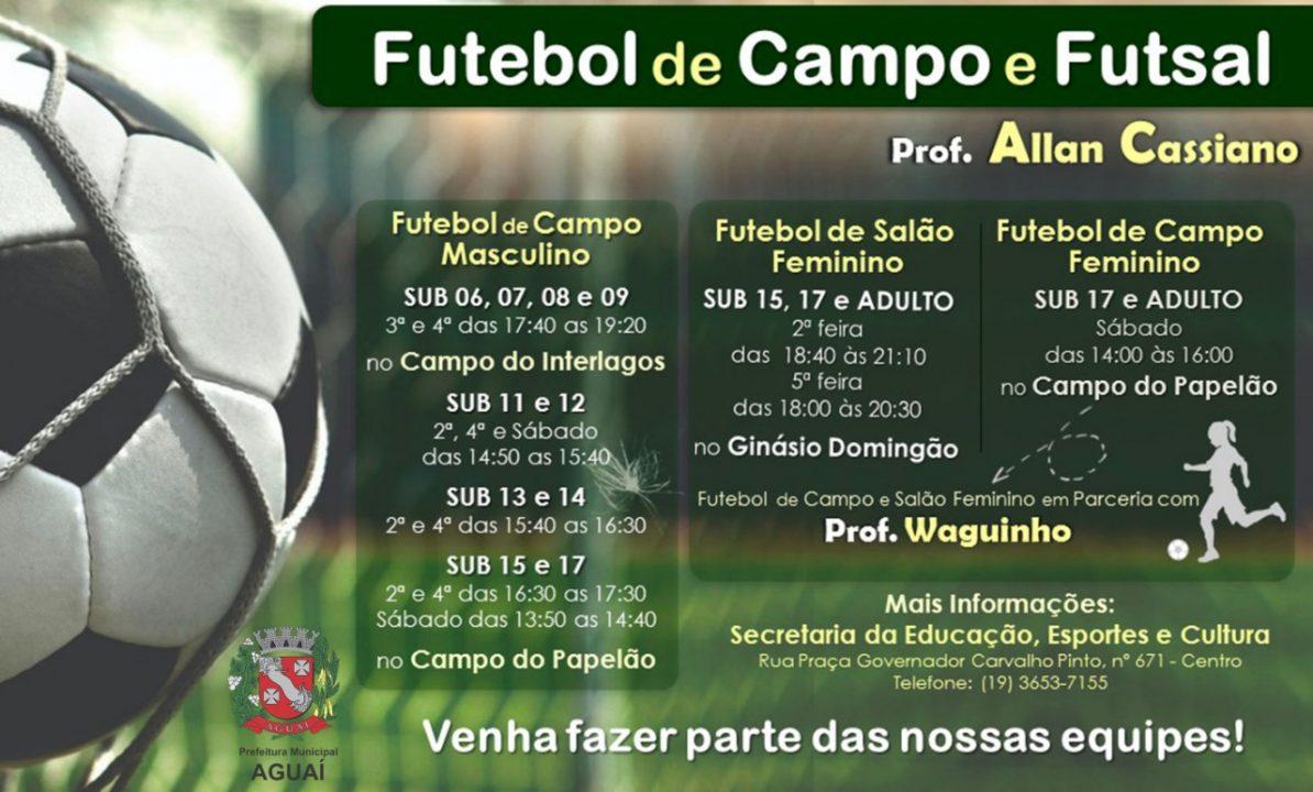 6a5b966e24 Estão abertas as matrículas para o Futebol de Campo e Futsal - Prefeitura  Municipal de Aguaí