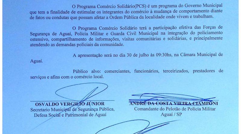 Programa Comércio Solidário será implantado em Aguaí