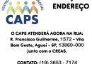 Mudança de endereço do CAPS